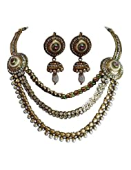 Unicorn's Bridal Necklace Set With A Matching Pair Of Earring - Ethnic Jewellery For Women - UETVCPB001