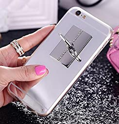Superstart Luxury Bling Slim Soft TPU Glass Mirro Case Cover for Samsung S6 Edge Inch with 360 Degree Rotating Stand-Silver