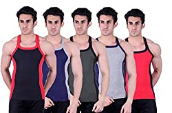 Zimfit Superb Gym Vests - Pack of 5 (BLK_BLU_GRN_GRY_RED_80)