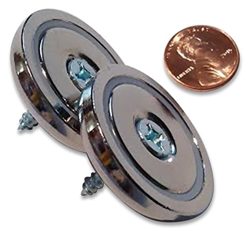 """2 Pack Rare Earth Neodymium Round Base or Cup Magnet, 1.42"""" Diameter, 70 lbs. Holding Force"""