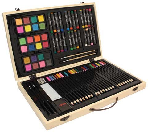 Us Art Supply� 82 Piece Deluxe Art Creativity Set in Wooden Case - Deluxe Art Set -Great Gift for Drawing and Painting
