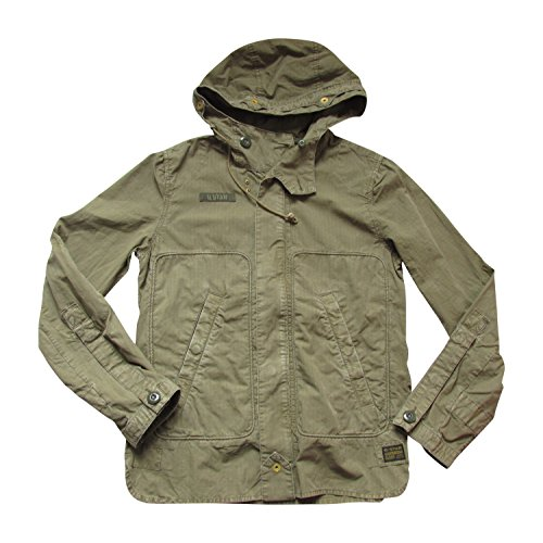 G Star cm Hooded Over Manica Lunga Camicia Da Uomo Khaki Medium