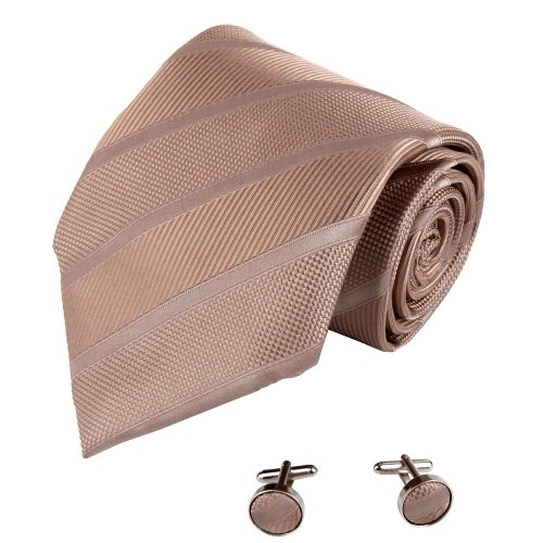 A7019 Sandy Brown Stripes Price Gift Mens Adults Day Presents Silk Tie Cufflinks Set 2PT By Y&G