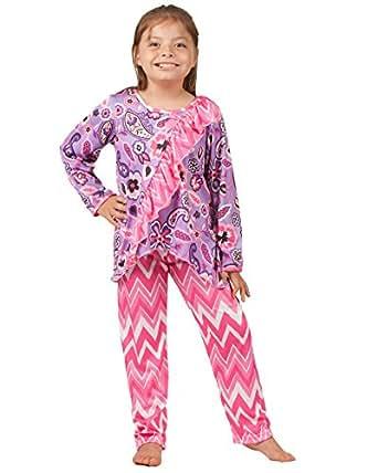Amazon.com: Laura Dare Little Girls Pop Star Vertical Ruffle PJ Set