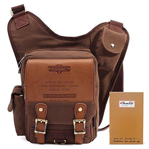KAUKKO-Nuovo design vintage in tela e pelle Borsa a tracolla viaggio sacchetti per uomo Business, Coffee, Taglia unica