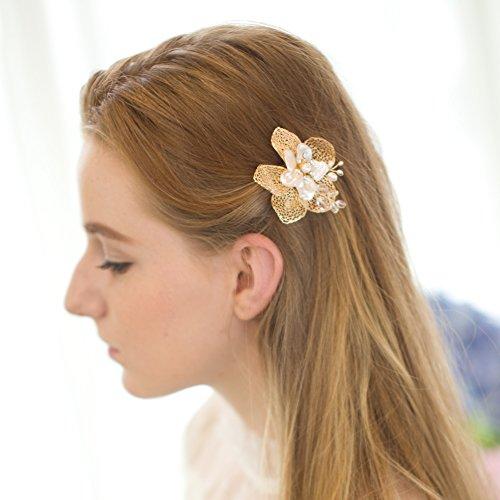perle en or pince cheveux feuilles de fleur pour mari e accessoire pour mariage. Black Bedroom Furniture Sets. Home Design Ideas