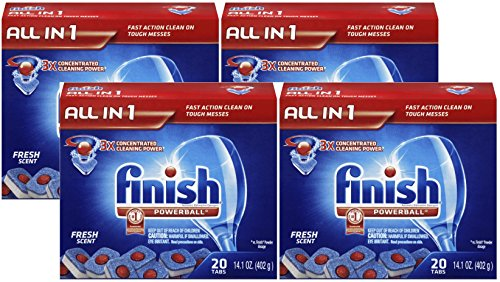 Finish Powerball Tabs Dishwasher Detergent Tablets, Fresh Scent, 80 Count