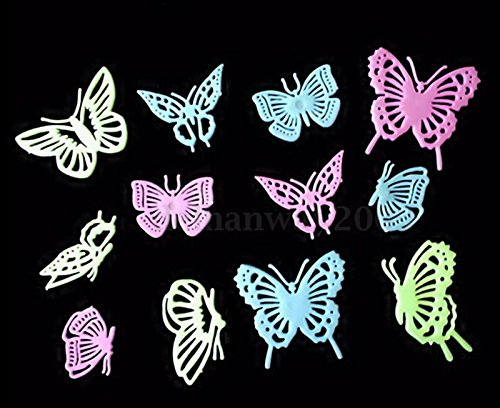 12PCS Home Decor Butterfly Fluorescent Wall Decals Luminescent wall stickers Set 04