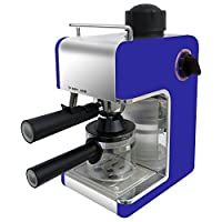 Bene Casa Stainless Steel 4-Cup Dark Blue Espresso Maker with Frother