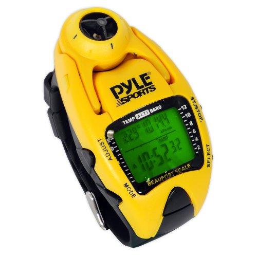 Yacht Timer-Uhr von Pyle; misst die Wind-Temperatur und -Geschwindigkeit, Höhenmesser, Barometer, Kompass, Chronograph mit 10-Runden-Speicher (gelb).