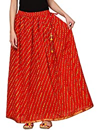 Saadgi Rajasthani Hand Block Printed Handcrafted Ethnic Lehnga Skirt For Women/Girls - B06XGHBG7X
