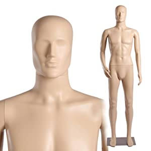 Abstract Standing Male Adult Mannequin + Base (MC-3F) (Color: Flesh, Tamaño: 73 tall)