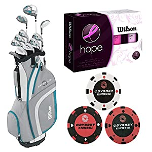 Wilson Complete Profile XLS Package Women's Tall Golf Set (Teal Blue, Right Hand) w/ Golf Balls & Golf Ball Markers