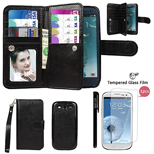 Samsung S3 Case, xhorizon TM FLK Premium Leather Folio Wallet Magnetic Wristlet Purse Soft Flip Multiple Card Slots Case for Samsung Galaxy S3 i9300 with a 9H 0.25mm Tempered Glass Screen Protector (Wristlet For Samsung Galaxy S3 compare prices)