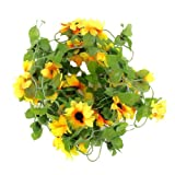 Artificial Sunflower Garland Silk Flower Vine for Valentine Home Wedding Garden Decoration--Excellent Decoration for Wedding Event, Party, Celebration, Aisle, Stairway or Arch
