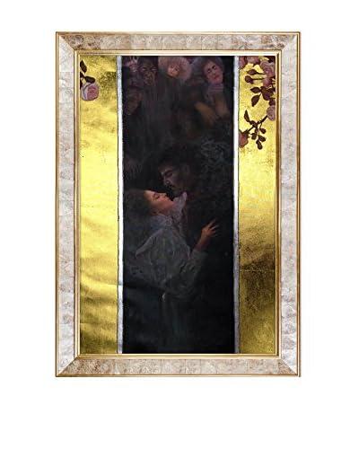 Gustav Klimt's Love Metallic Embellished Framed Hand Painted Oil Canvas, Multi, 42 x 30