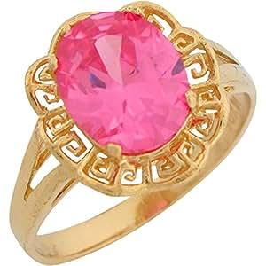 Amazon.com: 14k Yellow Gold Synthetic Pink Tourmaline ...