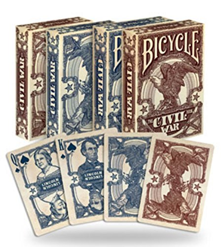 2 Decks Bicycle Civil War Red & Blue Poker Playing Cards Brand New Decks - 1