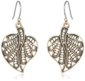 Lucky Brand Gold Leaf Drop Earrings