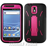 Black/pink Tmobile Samsung Galaxy S2 Hercules (Model T989) Premium Heavy Duty Hybrid Case (Outer Silicone + Durable Thick Inner Hard Protector Shell Case W/kickstand W/built-in Front Screen Protector)