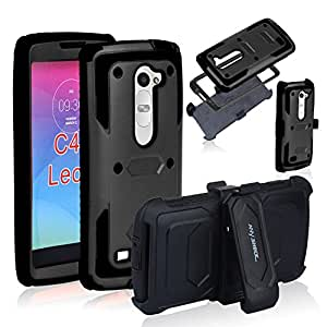 Anyshock[Armor Series] Heavy Duty Shockproof Durable Full Body Protection Rigged Hybrid Case with Belt Clip Holster and Kickstand for LG Leon C40 (Free Screen Protector Included) (Black)