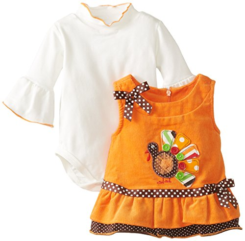 Bonnie Baby Baby-Girls Newborn Turkey Applique Corduroy Jumper, Orange, 3-6 Months front-1014490