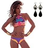 Sitengle Damen Bikini Sets Multicolour Push up Handgestrickte Badeanzüge Crochet