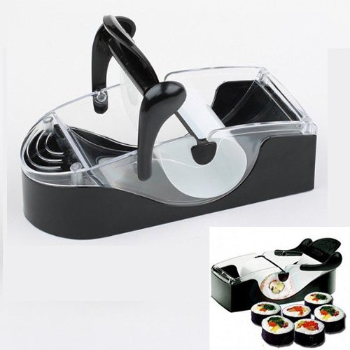 Sodial(R) Easy Perfect Roll Maker Sushi Magic Cutter Roller Rice Mold-Black