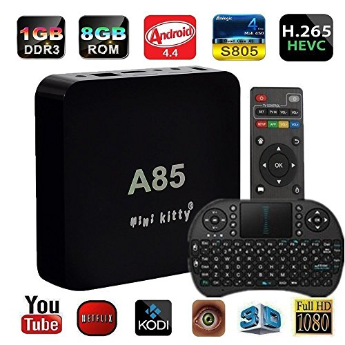 Mini Kitty®-(Free Wireless Mini Touchpad Keyboard)Mini Smart TV Kodi Netflix Fully Loaded 1GB+8GB Android 4.4 KitKat S805 CPU Streaming Media Client (Kitty Streamers compare prices)