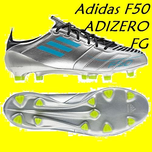 Adidas F50 adizero TRX FG Leather Football Boot silver / blue (6.5)