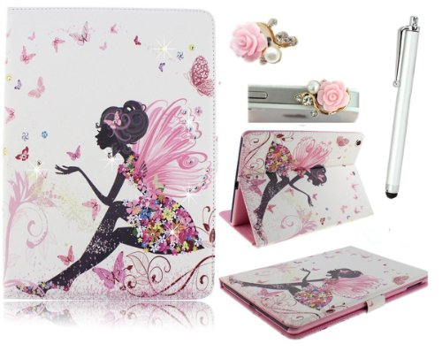 Vandot 3 in1 For iPad Mini with Retina Display / iPad Mini 2 2nd Generation PU Leather Smart Cover Premium Elegant 3D Girl Bling Shining Crystal Diamond Glitter Rose Flower Blue Yellow Hybrid Red White Black Orange colorful Rock Butterfly Cartoon Angel Fairy Magnet Magnetic New Flip Folio Book Multi-Function Protektiv Ultra Thin Case Stand Bumper Shell Bow Tie Princess + Baby Pink Pearl Camellias Anti Dust Plug Jack Earphone + Silver Metal Aluminum Stylus Touch Pen