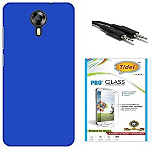 Tidel Stylish Rubberized Plastic Back Cover For Micromax Xpress 2 E313 ( Blue ) With Tidel 2.5D Temped Glass & Aux Cable