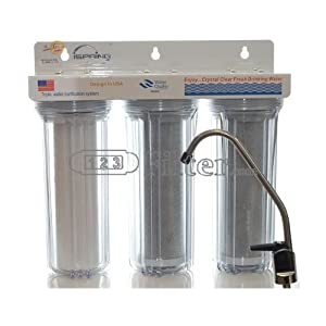iSpring 3-Stage Undercounter Water Filter System- Sediment-Carbon - Whole House