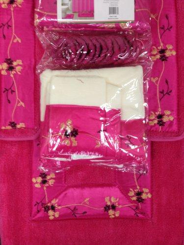 hot pink 18 piece bathroom set 2 rugs mats 1 fabric shower curtain new ebay. Black Bedroom Furniture Sets. Home Design Ideas