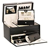 Duchess Black Bonded Leather Jewellery Box with Separate Traveller and Jewellery Rollby Mele & Co
