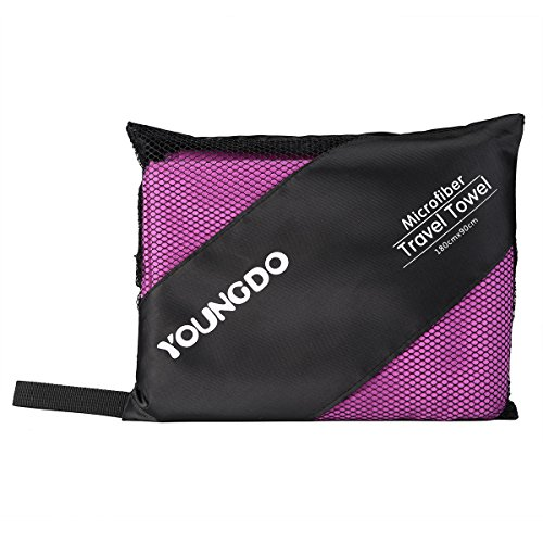 youngdo asciugamano da viaggio in microfibra, 180 x 90 cm, colore: viola da viaggio asciugamano asciugatura rapida Sport per la spiaggia, palestra, campeggio, nuoto, yoga e pilates, ad asciugatura rapida, leggero e compatto con borsa