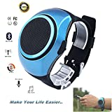 Smalody Wearable Bluetooth Wireless Watch Speaker Portable Bluetooth Sports Outdoor Music Speakers with FM Radio (Blue)
