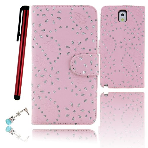 Ancerson Bling Glitter Crystal Diamond Rose Flowers Leaf Polka Small Dots Magnetic Magnet Buckle Pu Leather Protective Flip Case Cover Shell Skin With Credit/ Id Card Slots Holes Wallet Slip Stand For Samsung Galaxy Note Iii Note 3 N9000 N9002 N9005 With