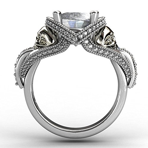EVBEA Skull Engagement Ring Unique Bling Cocktail Aphrodite White Diamond Heart Ring for Women (8)