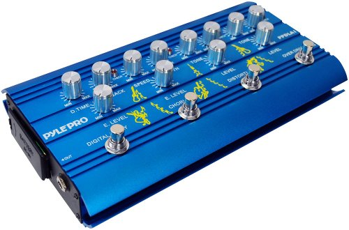 Pyle-Pro Ppdla1 Super Guitar Multi-Effect Pedal With Overdrive, Distortion, Chorus, And Digital Delay