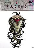GRASHINE Extra large tattoo 11.81 x 8.66 Inches Cobra Snake new big design fake tattoos stckers