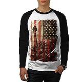 Statue Liberty USA Tourism Flag Men NEW White S Baseball LS T-shirt | Wellcoda