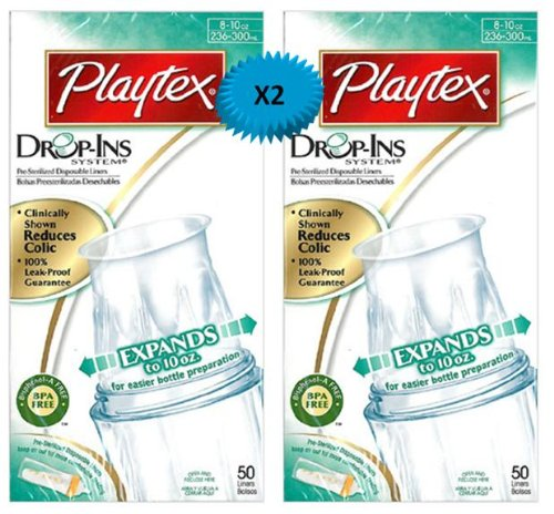 Playtex Drop-Ins Pre-Sterilized Disposable Liners 8-10 Oz: 50 Count (Pack Of 2) front-526827
