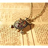 BUYINHOUSE Vintage, Retro Colorful Artifical Crystal Owl Pendant and Long Chain Necklace with Antiqued Bronze/Brass Finish