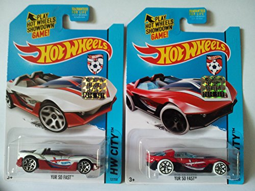 2014 Hot Wheels Factory Sealed Set Exclusive - World Cup Soccer England Yur So Fast (White & Red) Set of 2! - 1