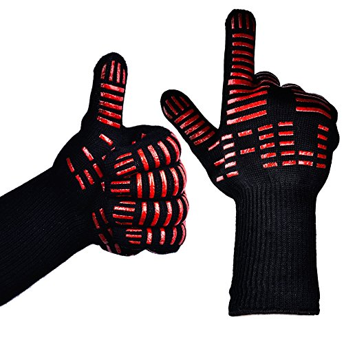 TTLIFE BBQ Gloves - Grilling Cooking Gloves - 932°F Extreme Heat Resistant Gloves - 1 Pair (Long with Narrow Thumb) - 14