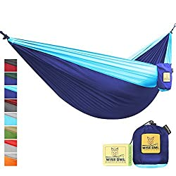 FLASH SALE The Ultimate Single Double Camping Hammocks- The Best Quality Camp Gear For Backpacking Camping Survival Travel- Portable Lightweight Parachute Nylon Ropes and Carabiners Included SO Navy Blue & Light Blue SingleOwl