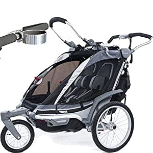 Thule Chariot Chinook 2 Child Carrier with Strolling Kit and Cup Holder - Black