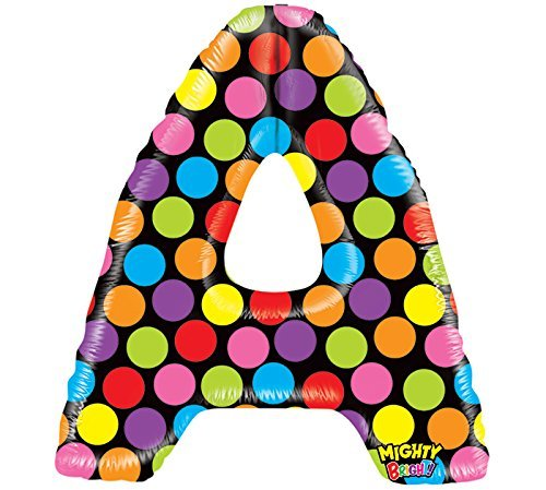 "Mighty Bright Polka Dot Megaloon 40"" Mylar Foil Balloon Letter A - 1"