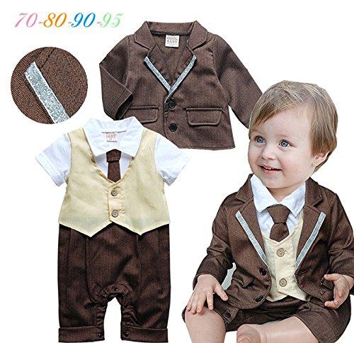 赤ちゃん・ベビー服 紳士風スーツ ロンパースとジャケット2点セット ネクタイ付き フォーマル 男の子 結婚式 お正月 七五三 出産祝い priama